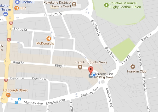 Contact Us location map for Springdale Clinic with surrounding landmarks
