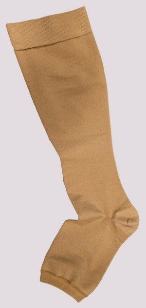 Varicose veins stockings showing a below knee version