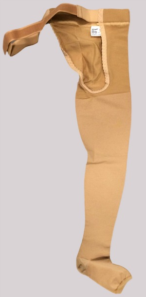 Varicose veins stockings showing a belt support for the waist area with the more usual open toe