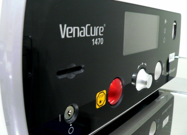 Venacure 1470nm laser facade shown on an angle is used for endovenous laser therapy on less visible segments of damaged veins in varicose vein treatments