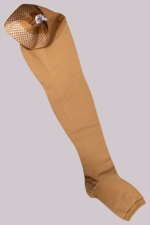 Varicose veins stockings come in a variety of styles and colours.  But generally they are a thicker weave than standard stockings.  A thigh high stay up example.